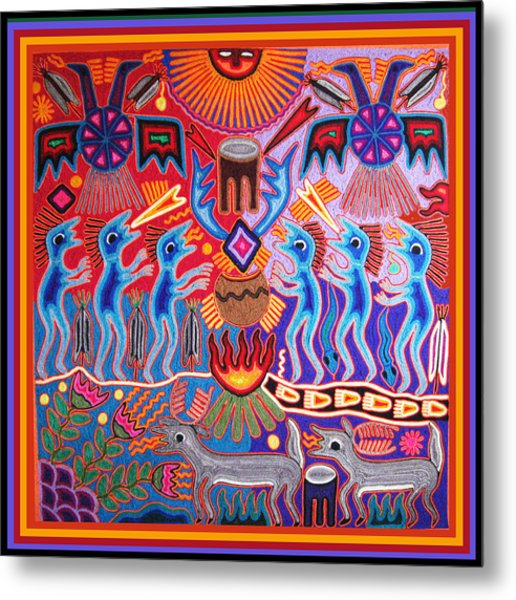Peyote Shaman Hunting Ritual Metal Print
