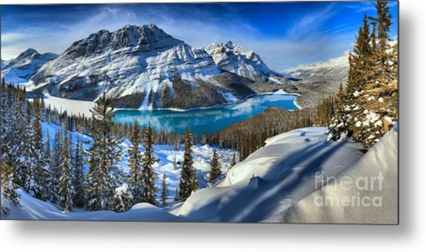 Peyto Lake Winter Panorama Metal Print