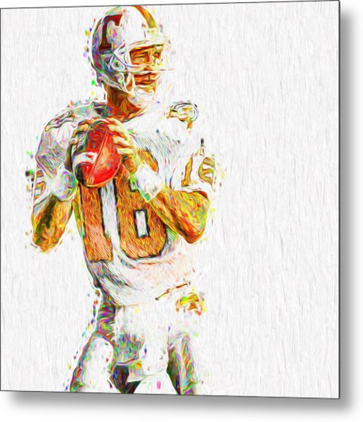 Peyton Manning Nfl Football Painting Tv Metal Print