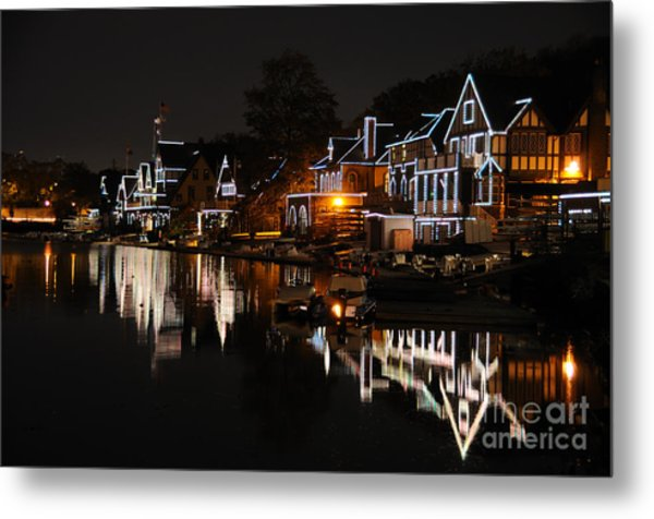 Philadelphia Boathouse Row At Night Metal Print