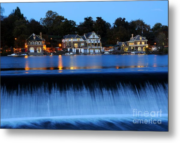 Philadelphia Boathouse Row At Twilight Metal Print