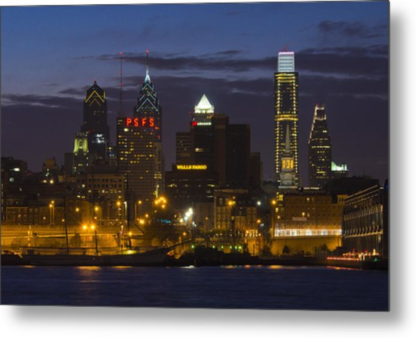 Philadelphia Skyline At Night Metal Print by Brendan Reals