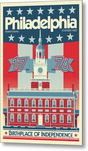 Philadelphia Poster - Independence Hall Metal Print