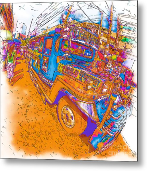 Philippine Girl Walking By A Jeepney Metal Print
