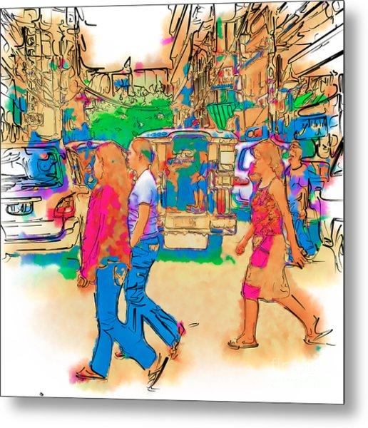 Philippine Girls Crossing Street Metal Print