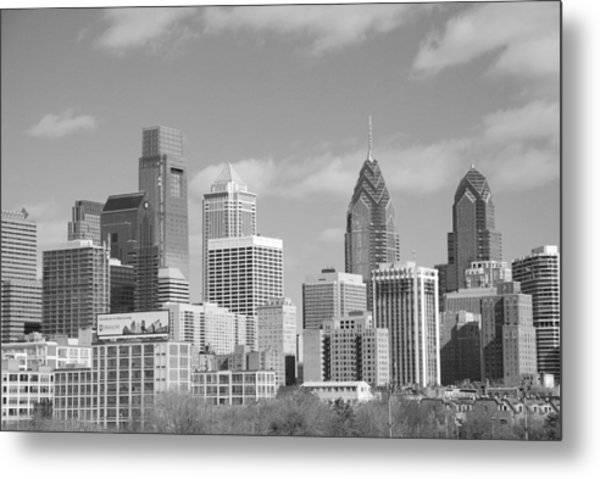 Philly Skyscrapers Black And White Metal Print