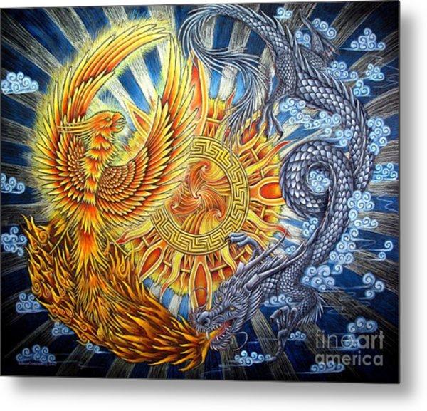 Phoenix And Dragon Metal Print