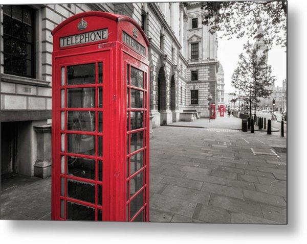 Phone Booths In London Metal Print