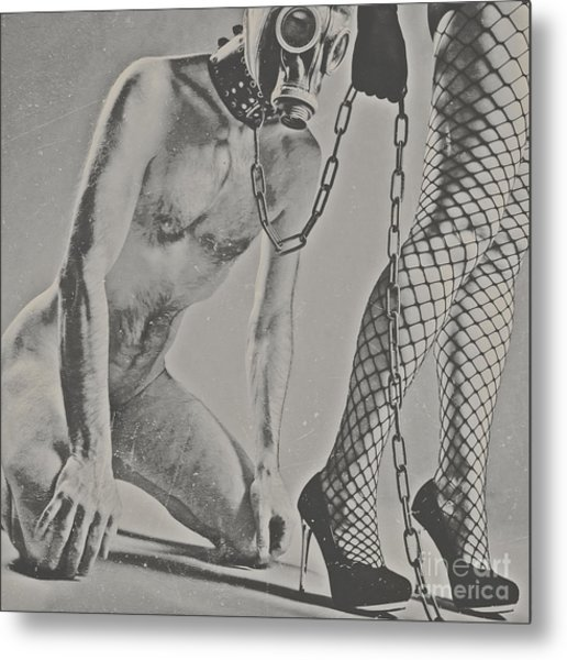 Photograph Bdsm Style In Black And White #0547d Metal Print