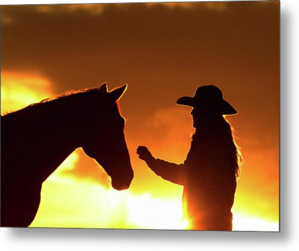 Cowgirl Sunset Sihouette Metal Print