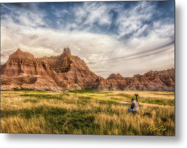 Photographer Waiting For The Badlands Light Metal Print