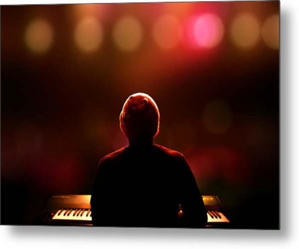 Pianist On Stage From Behind Metal Print
