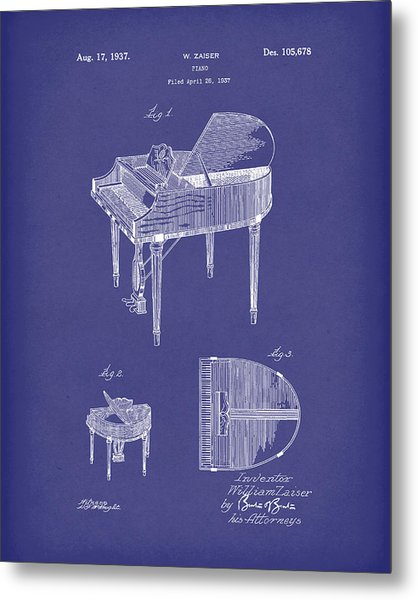 Metal Print featuring the drawing Piano 1937 Patent Art Blue by Prior Art Design
