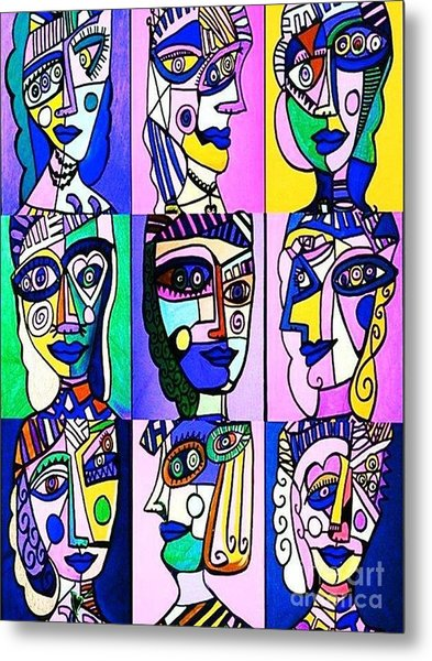 Picasso Blue Women Metal Print
