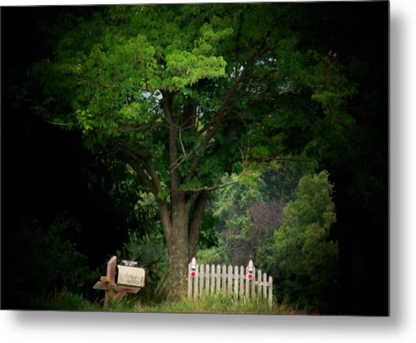 Picket Fence Mailbox Metal Print by Michael L Kimble