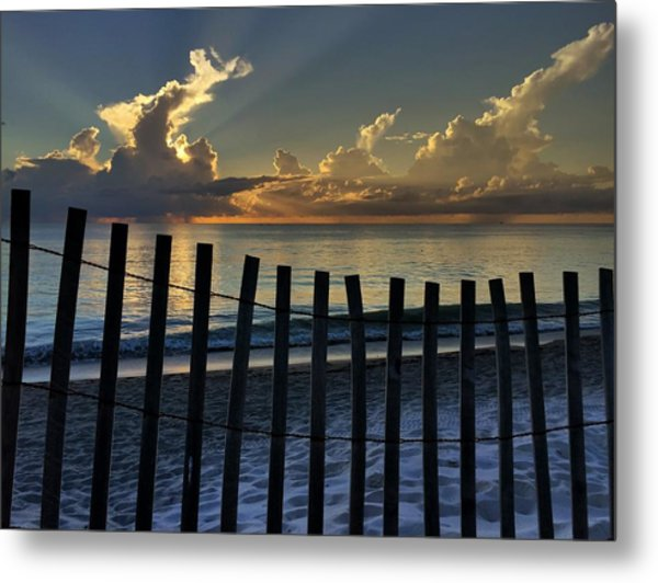 Picket Fence On The Beach Metal Print