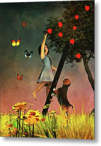 Metal Print featuring the painting Picking Apples Together by Jan Keteleer