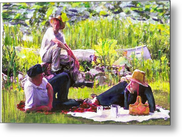 Picnic By The Lake Metal Print by Randy Sprout