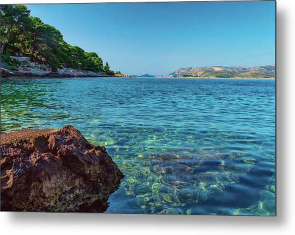 Picturesque Croatia Offers Tourists Pristine Beaches Of The Adriatic, Surrounded By Pine Trees And R Metal Print