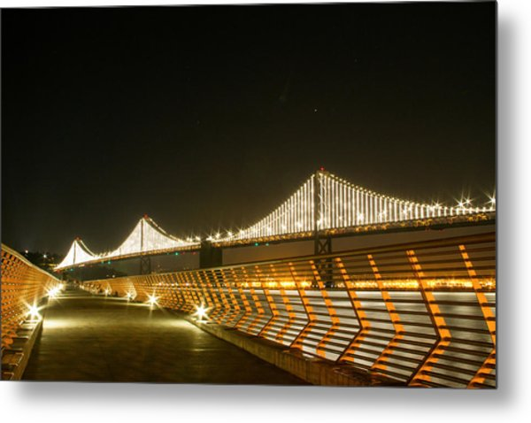 Pier 14 And Bay Bridge Lights Metal Print