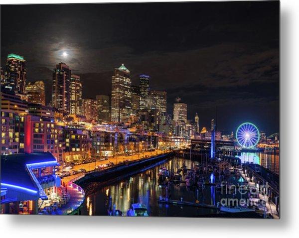 Pier 66 Full Moon Rising Over Seattle Metal Print