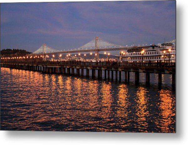 Pier 7 And Bay Bridge Lights At Sunset Metal Print
