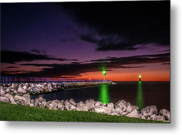 Pier And Lighthouse Metal Print