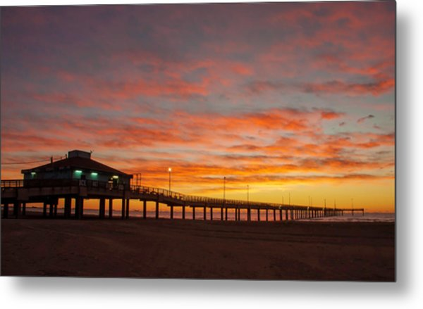 Pier At Sunrise Port Aransas Tx Metal Print