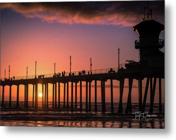 Pier At Sunset Metal Print