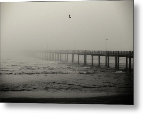 Pier In Fog Metal Print
