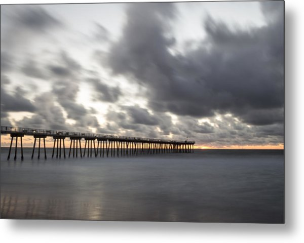 Pier In Misty Waters Metal Print