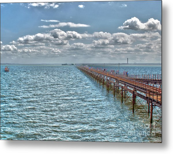 Pier Into The English Channel Metal Print