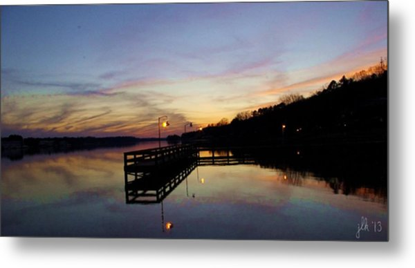 Pier Silhouetted In The Sunset On The Coosa River Metal Print