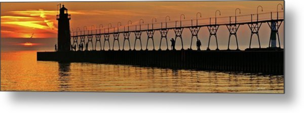 Pier Sunset Metal Print