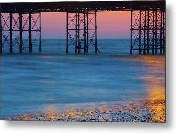 Pier Supports At Sunset I Metal Print