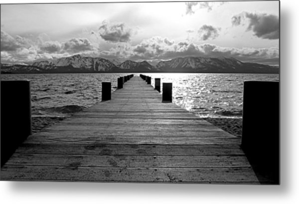 Pier To Mount Tallac Lake Tahoe Metal Print