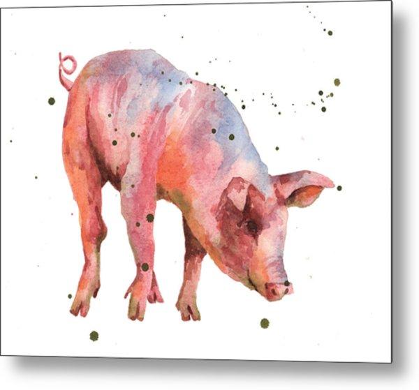 Pig Painting Metal Print