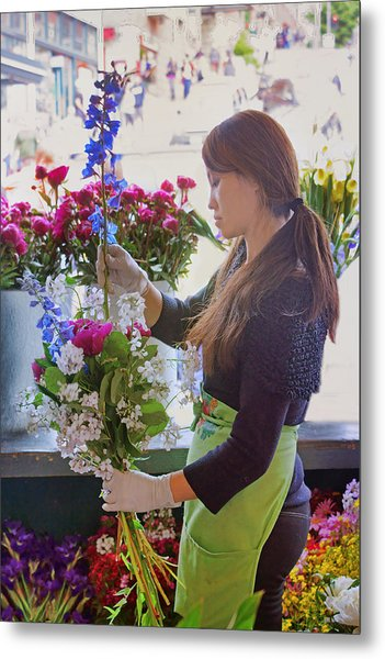 Pike Place Market - Flower Vendor Metal Print by Nikolyn McDonald