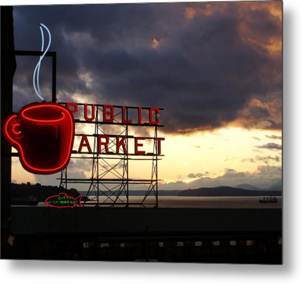 Pike Place Market Metal Print by Sonja Anderson