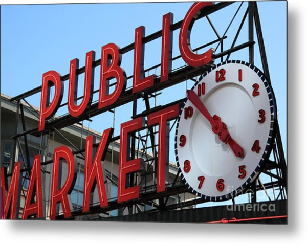 Pike Street Market Clock Metal Print