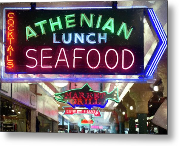 Pike Street Market Neon, Seattle Metal Print