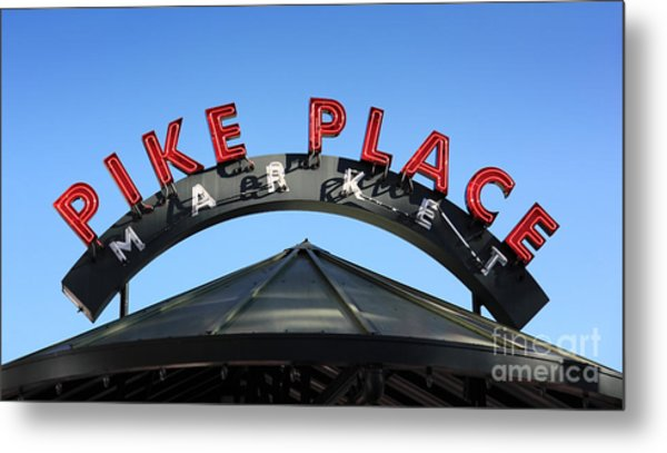 Pike Street Market Sign Metal Print