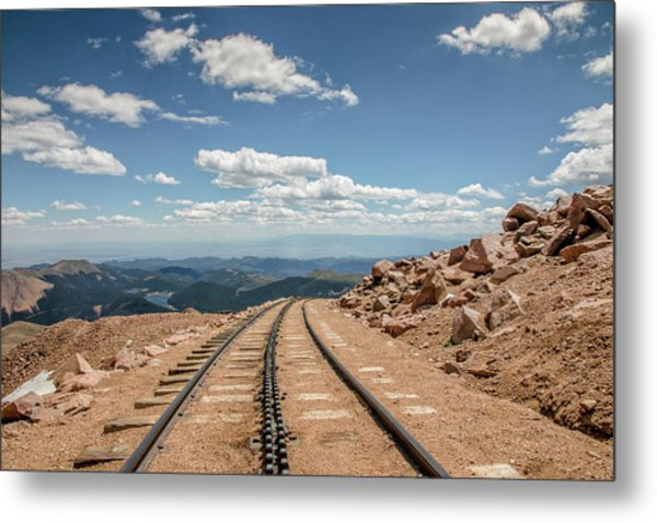 Pikes Peak Cog Railway Track At 14,110 Feet Metal Print