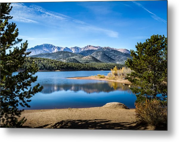 Pikes Peak Over Crystal Lake Metal Print
