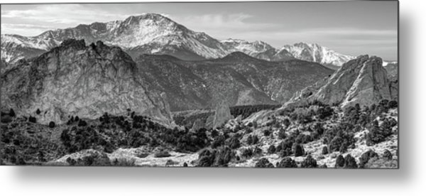 Metal Print featuring the photograph Pikes Peak Panorama - Garden Of The Gods - Colorado Springs - Black And White by Gregory Ballos