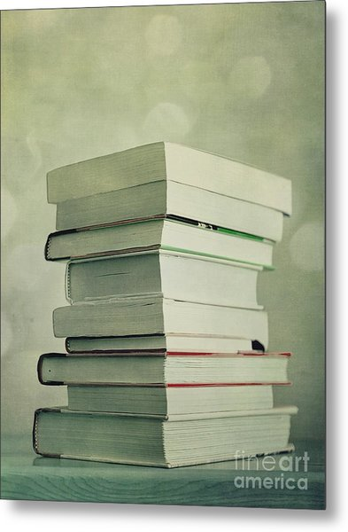 Piled Reading Matter Metal Print
