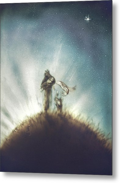 Pilot, Little Prince And Fox Metal Print