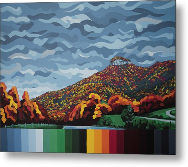Pilot Mountain Fall Metal Print