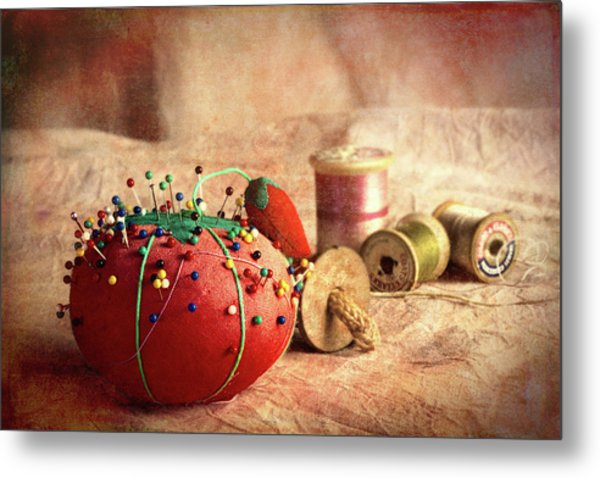 Pin Cushion And Wooden Thread Spools Metal Print