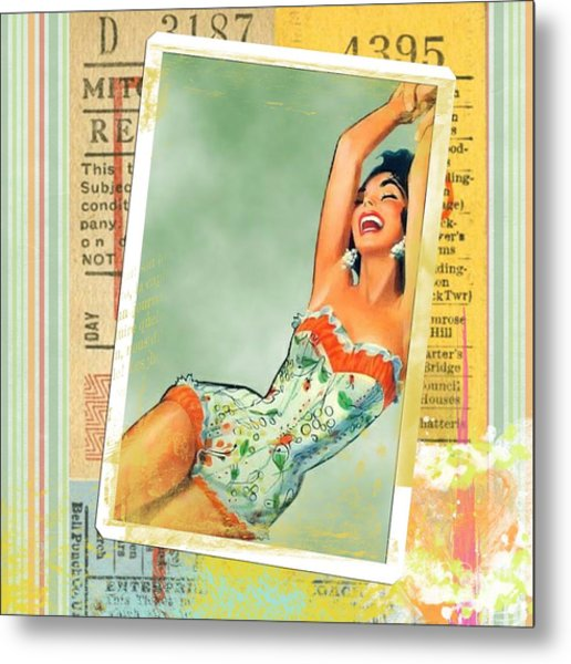Pin Up Girl Square Metal Print